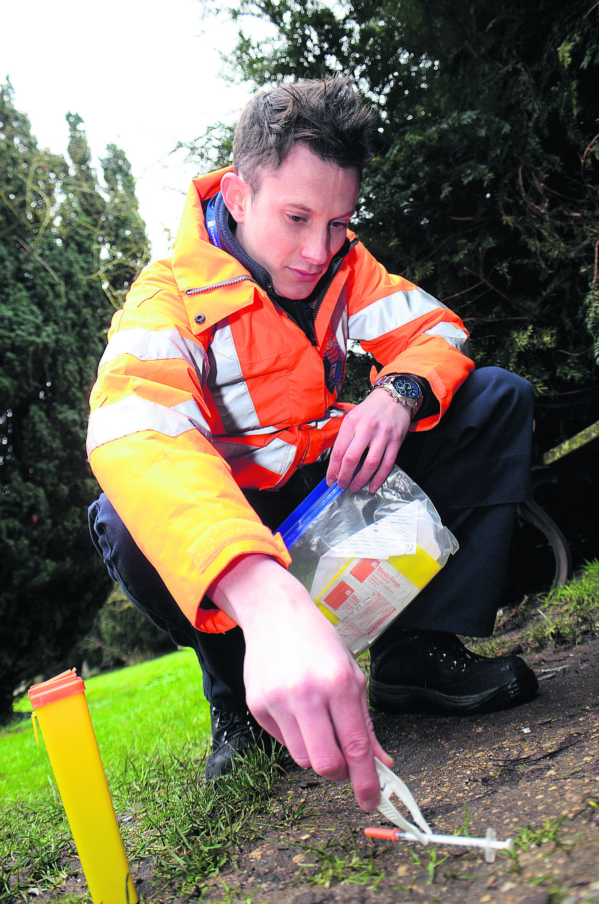 Nick Prior with a syringe from Osney Cemetery