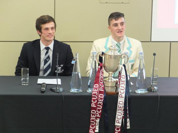 2014 Rugby League Pcubed Varsity Match captains Jack Baker (Oxford, left) & James Tennison (Cambridge, right)