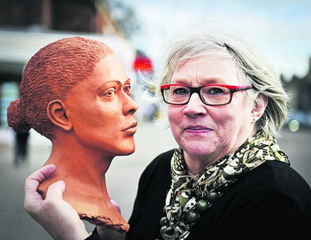 Jean Wykes with her sculpture. Picture: OX65455 Mark Hemsworth