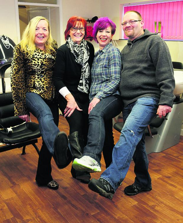 The Oxford Times: TAking on the world: From left, Alyson Clifton, Jo Chiverton, Sandy and Nigel Butler as they look now