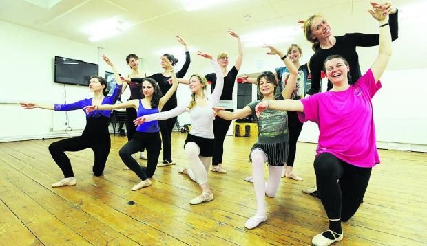 Adult intermediate ballet class at The Old Fire Station. The class is pictured with instructor Lesley Tunstall, back far right Picture: OX65498 Jon Lewis