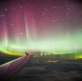 The Oxford Times: A photo taken from a BA flight, chartered by Aerobility, a charity that gives people with disability the chance to fly, of the Northern Lights.