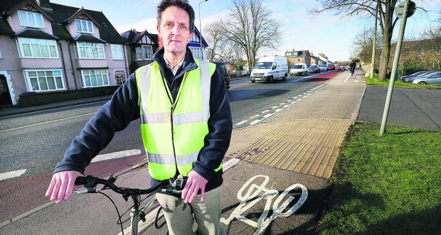Bike Safe chairman Ian Leggett on the Botley Road cycle track, outside the  site
