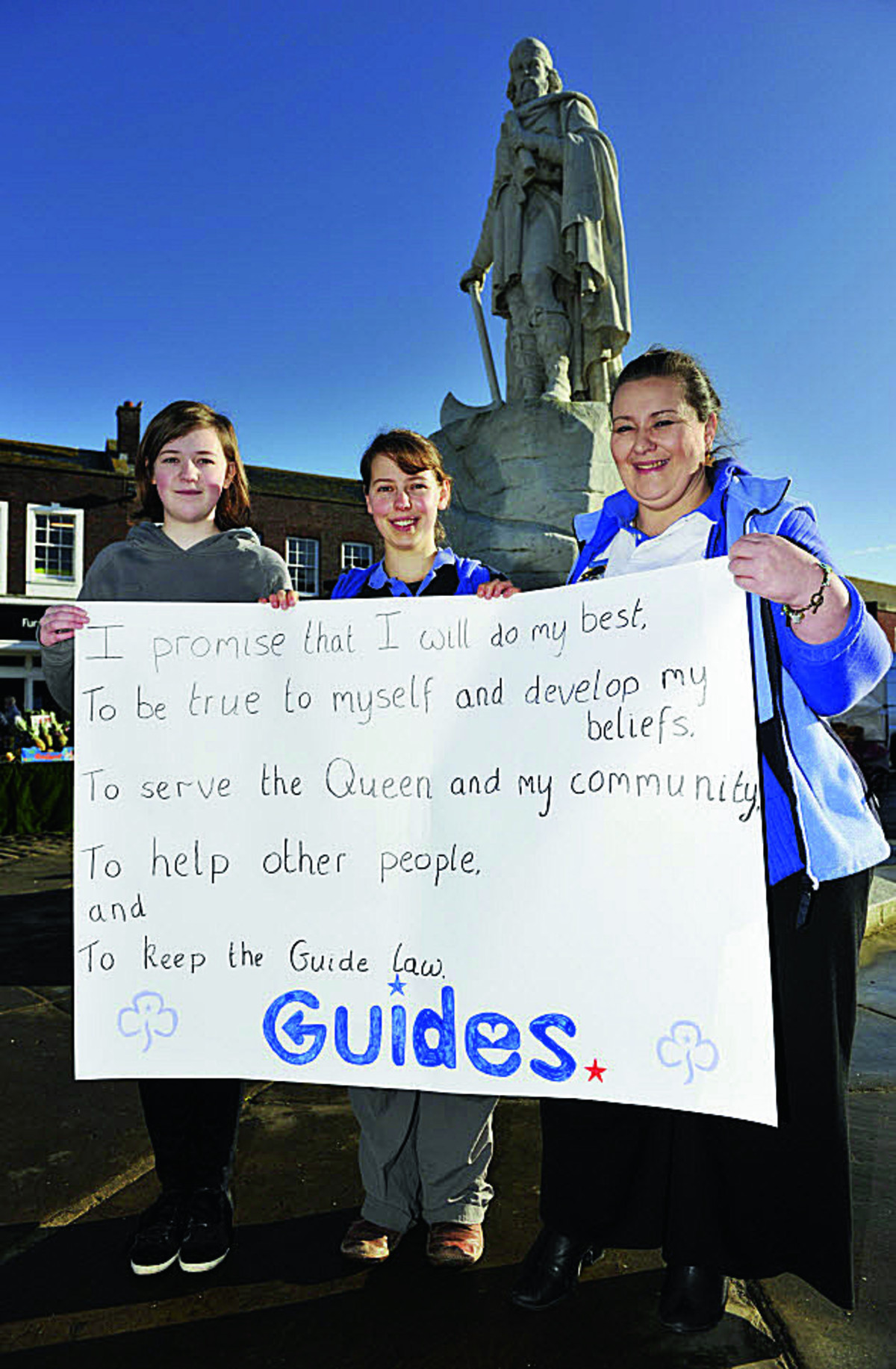 JOIN US: From left: 14-year-old Lucy Bailey, 9th Wantage Brownies' Barn Owl Sharon Ellery and Clare Bristow, of the 4th Wantage Guides
