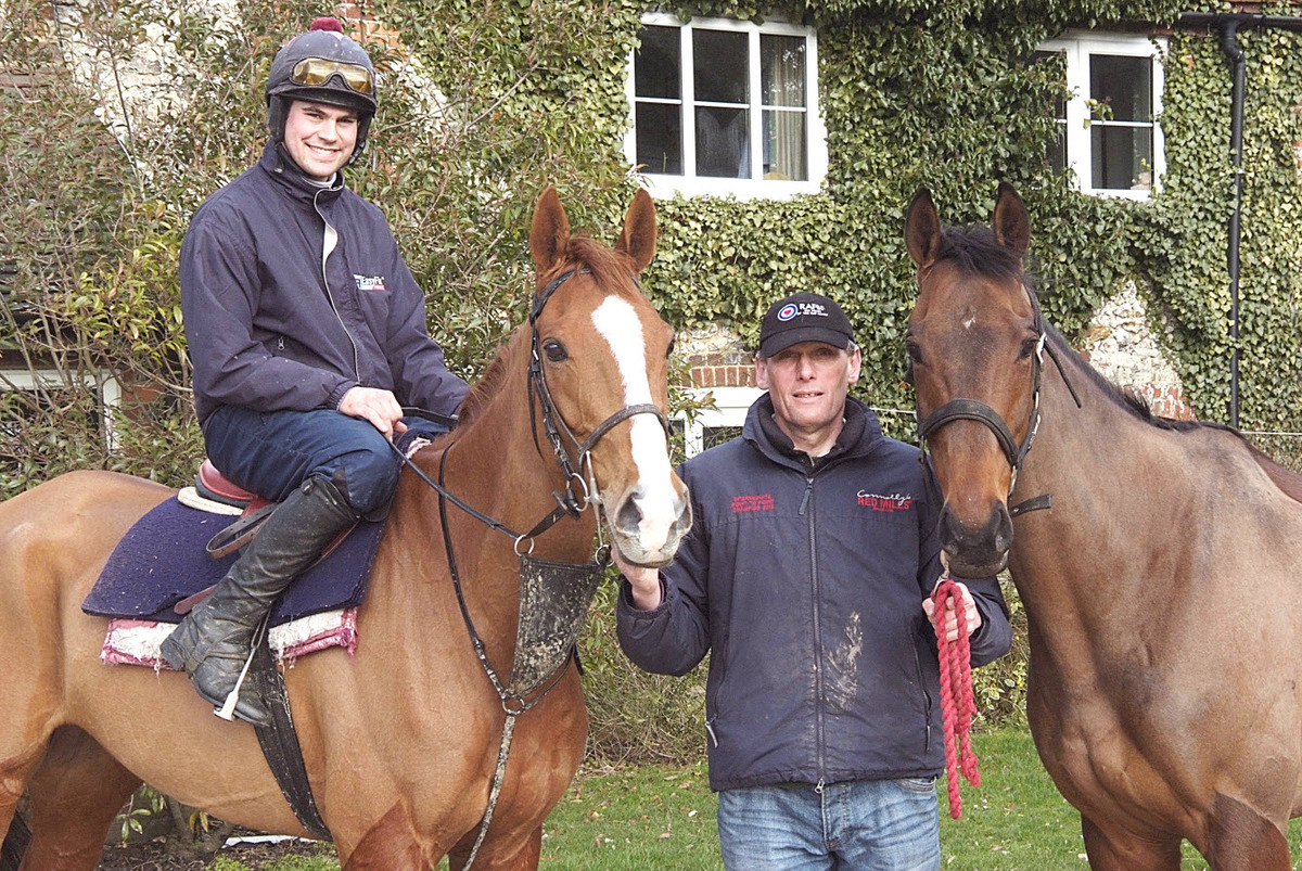 Aston Rowant trainer Alan Hill (centre) with Harbour Court and Dan Collins on top and Ravethebrave, his two Cheltenham Festival challengers