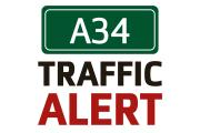 One lane southbound closed on the A34