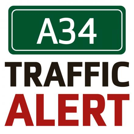 Ladders causing delays on A34