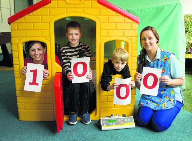 Oxford Children's Hospital play specialist Sam Mortlock, left, with youngsters Josh Kirby, 10, and Danny Fielden, eight, and fellow staff member Claire Mulligan