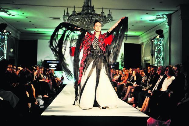Model Sonia Cook shows off a bold creation at Oxford Fashion Week's concept show