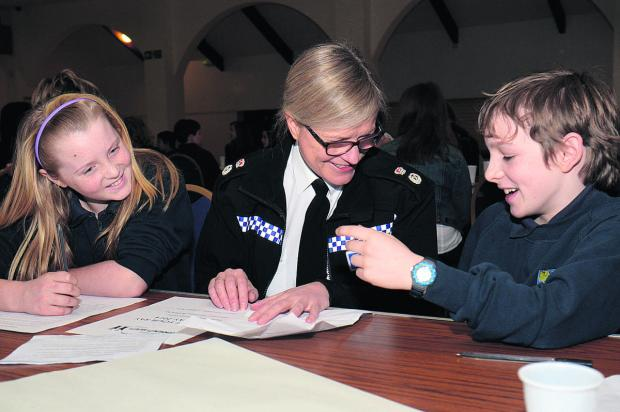 Chief Constable Sara Thornton with Bartholomew School pupils Alysha McCluskey, 11, and Louis Hynes, 12