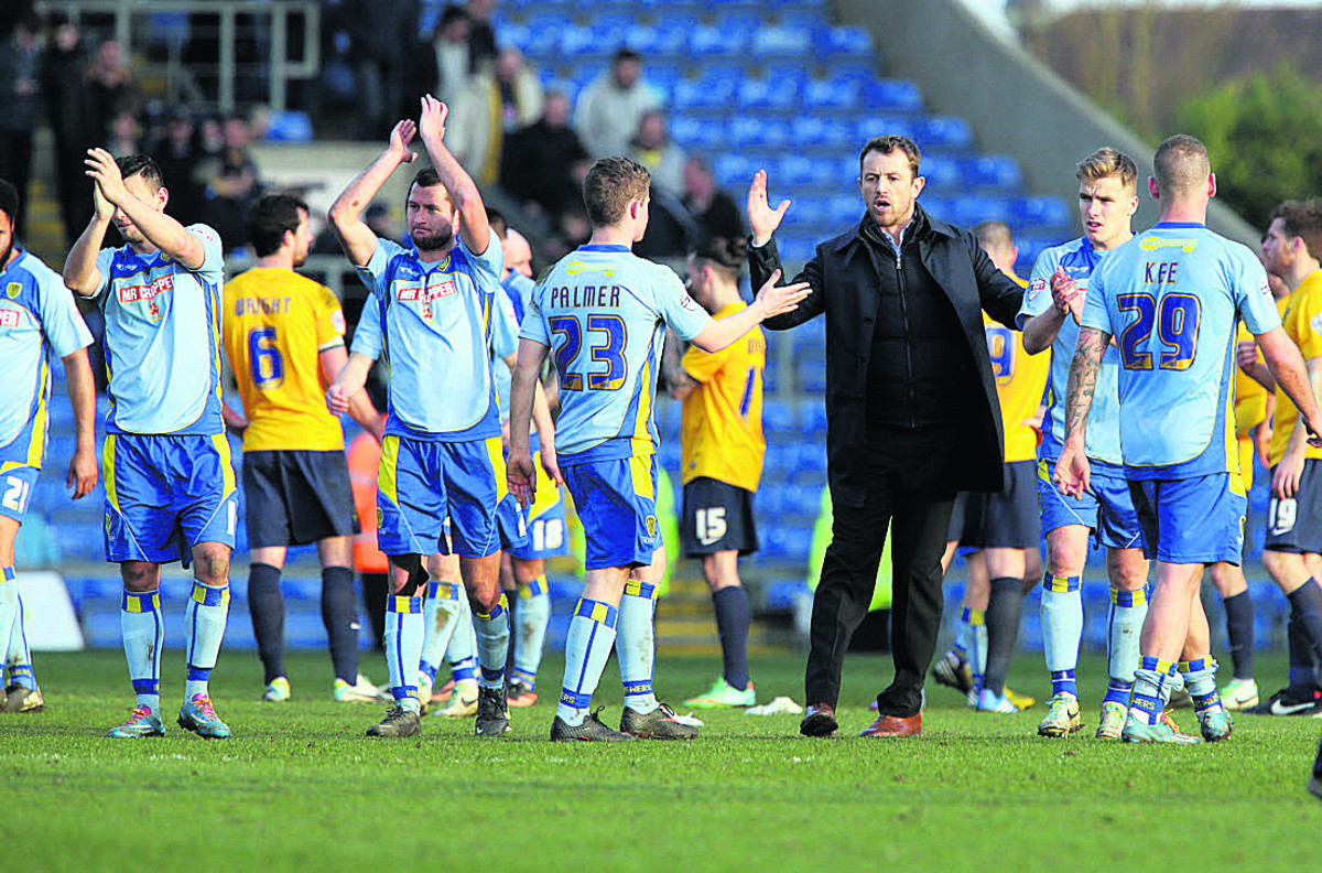 Gary Rowett congratulates his Burton side on their victory on Saturday