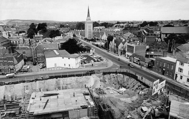 The Oxford Times: The Westgate development in July 1970 looking past the realigned Castle Street to County Hall and Nuffield College. The £1.8m centre was designed by city architect Douglas Murray and completed in 1972