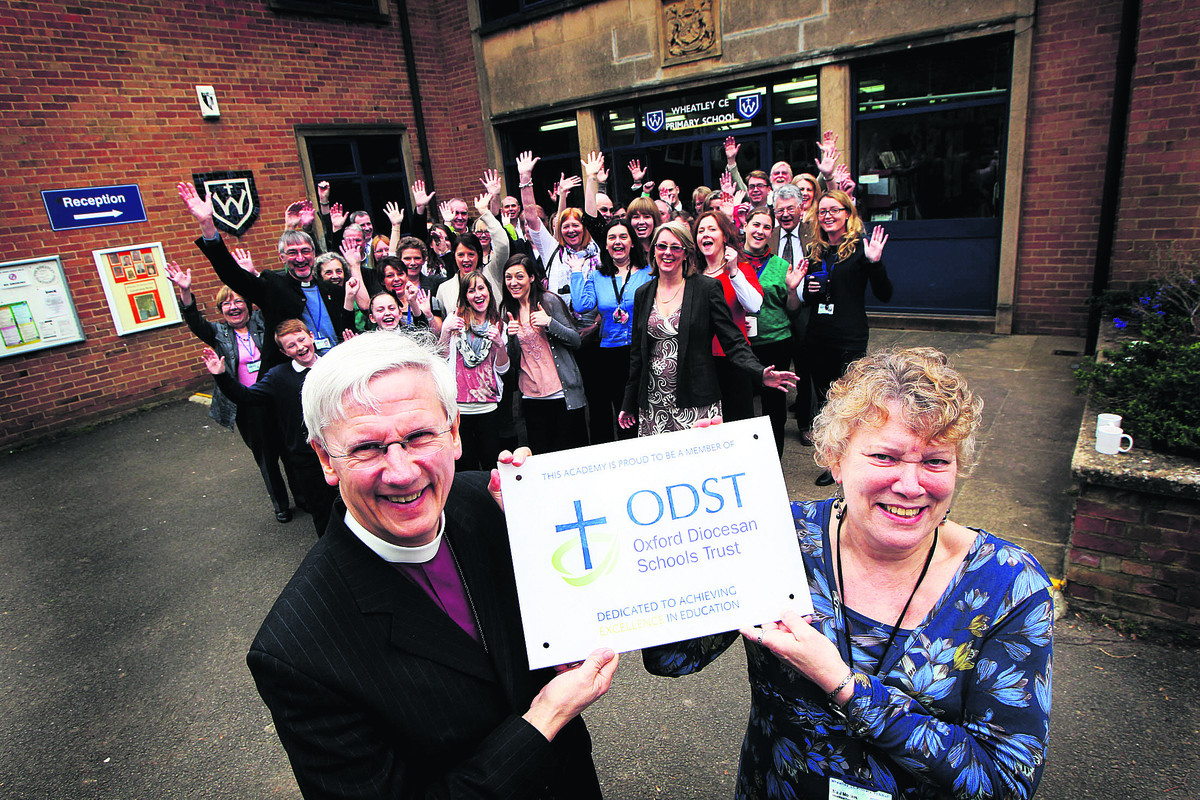 Wheatley C of E Primary School's headteacher Joan Morters with Bishop of Dorchester Colin Fletcher on Monday