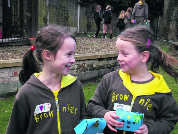 The Oxford Times: 2nd Wantage Brownies Ellie Hillsden, left, and Emily Lindley enjoy the Guides' World Thinking Day