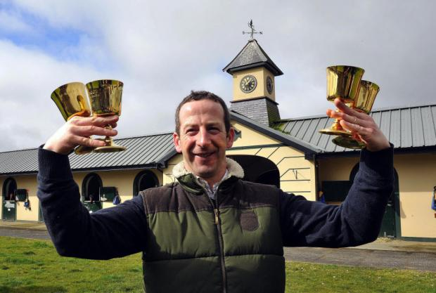 Jim Culloty with his four Golds Cup, three for riding Best Mate and one for     training Lord Windermere, at his stables at Churchtown, near Mallow, in County Cork