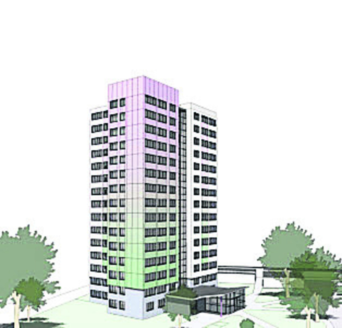 An artist's impression of the changes to Evenlode Tower