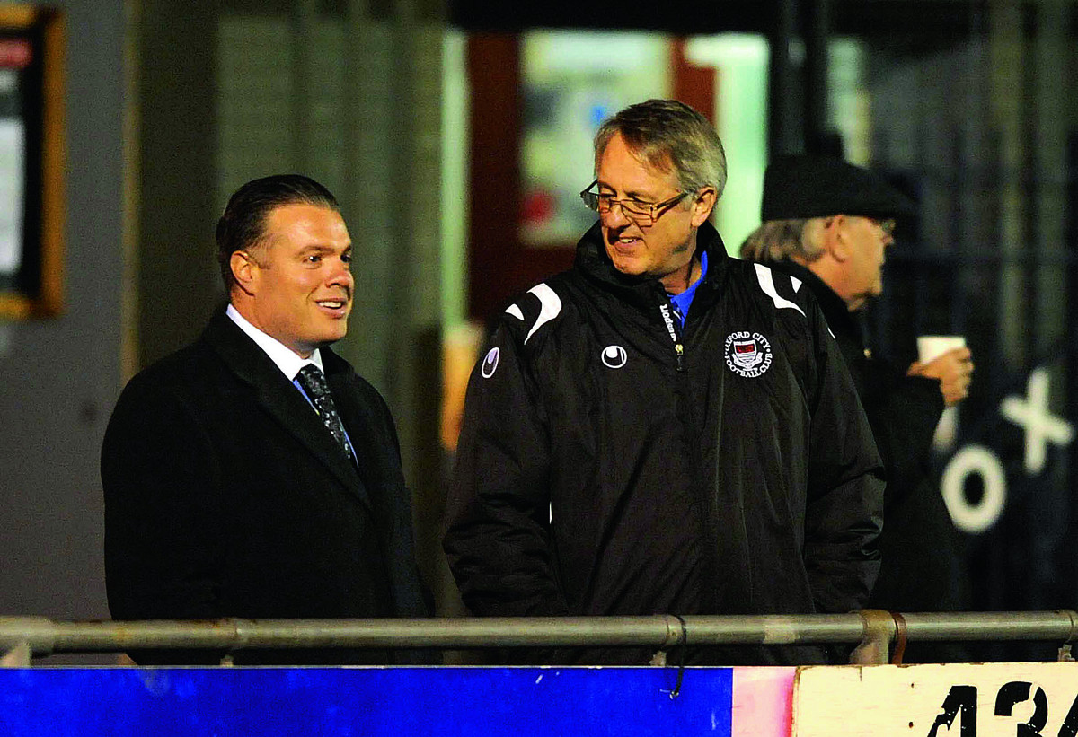 Oxford City president Thomas Guerriero with club vice chairman and treasurer Paul Cotterell at the match on Tuesday.  Pictures: Mike Allen