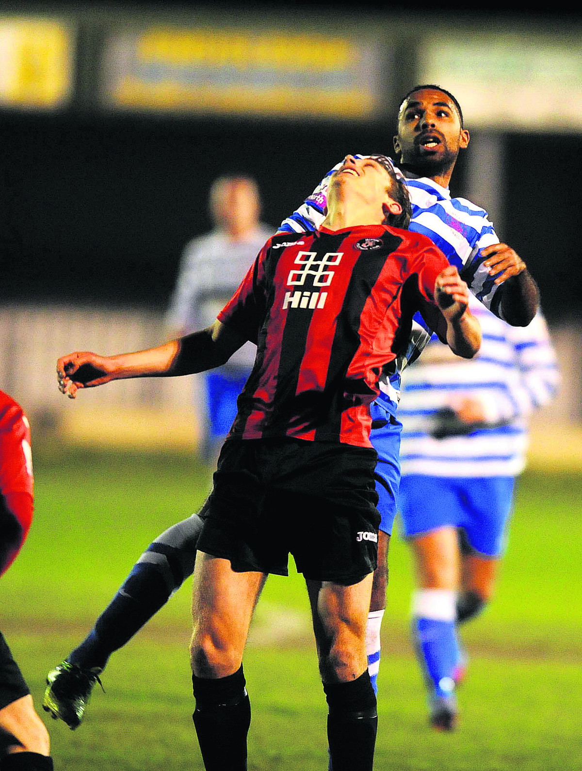 Oxford City's Darren Mullings puts in a header during his debut in Tuesday's 2-1 win against Histon
