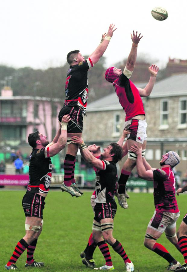 The Oxford Times: Pete Browne (right) competes at the line-out against Cornish Pirates last week