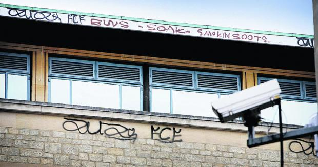 Graffiti sprayed on the top of the Clarendon Centre in Cornmarket