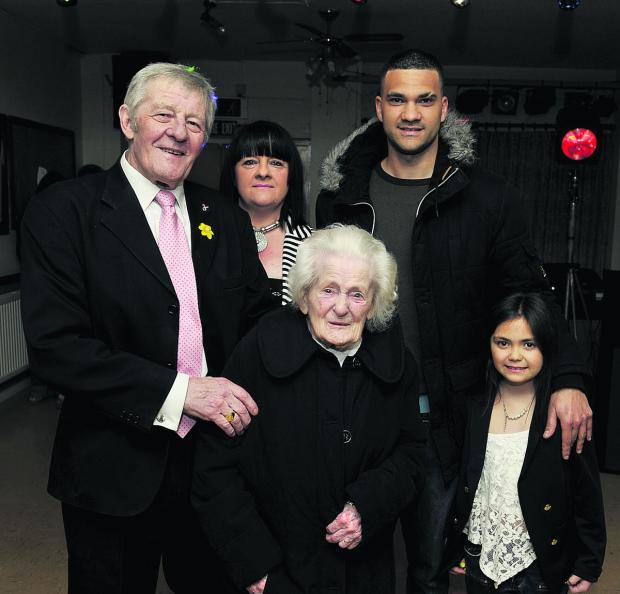 Five generations, from left, David Bailey, 74, Helen Bailey, 47, Peggy Bailey, 97, Germain Morris 30, and Remie Morris, nine