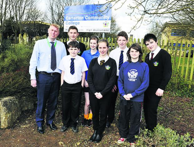 Acting headteacher Iain Bilton, with pupils, back, from left, Calum Longman, Rosie Herridge, James Clark, Ben Rolands; front, Braiden Davies, Amy Thomson and Susan Oliver