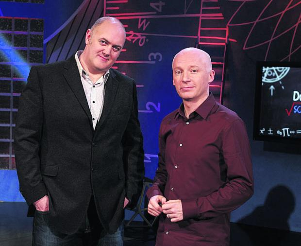 Marcus du Sautoy, right, with Dara O Briain on School of Hard Sums