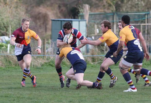 Grove's Henry Day, seen here during their 29-25 victory over Oxford Harlequins, move