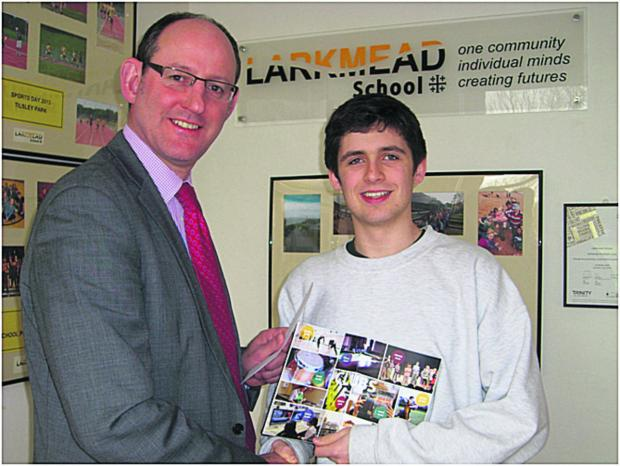 Headteacher Chris Harris with pupil Ed Atcherley-Symes