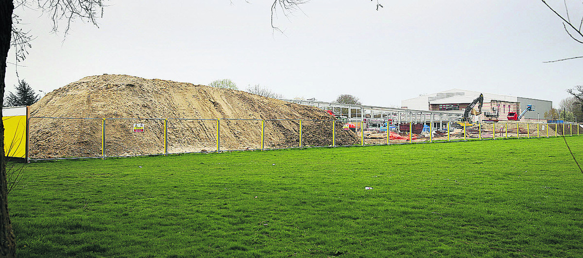 The pile of soil removed for construction of a swimming pool at Blackbird Leys. Picture: OX66272 Damian Halliwell