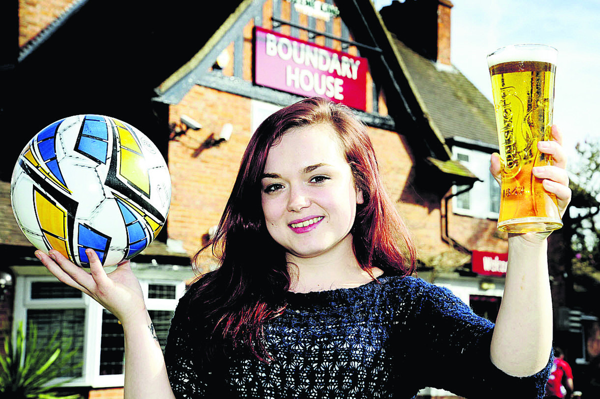 GOAL: The Boundary House pub assistant manager Jodie Pepperell is ready for World Cup action
