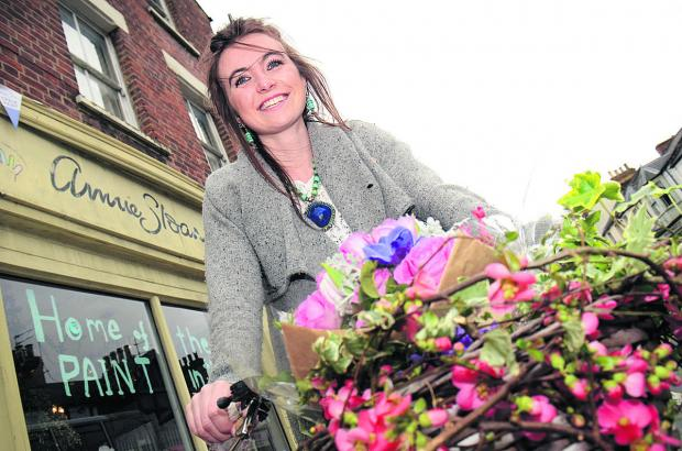Lucy Bartlett outside her pop-up shop.  Picture: OX66020 Marc West