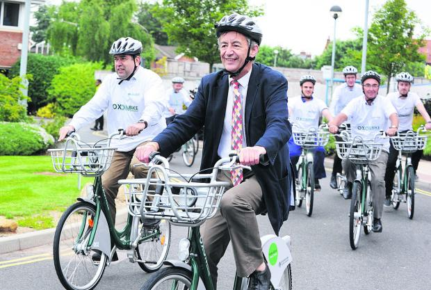 County council cabinet member for transport David Nimmo Smith launches the hire bike scheme in Headington in June last year.  Picture: OX59843 Jon Lewis