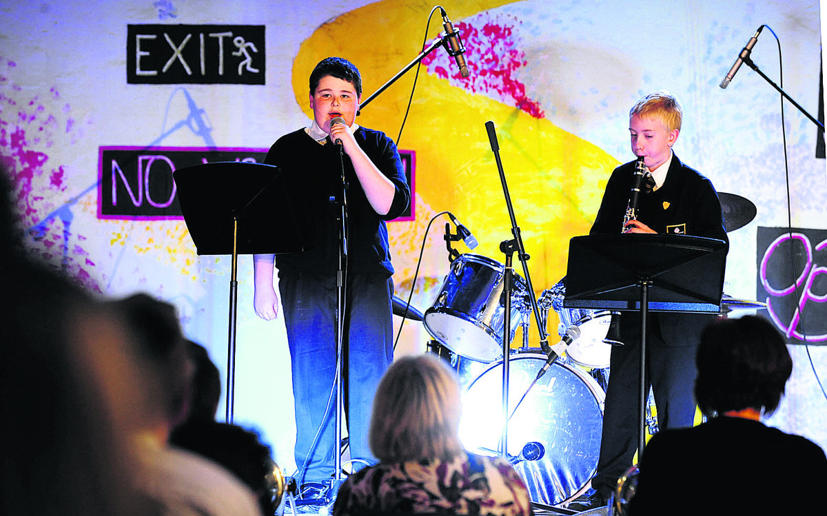 Harry Rowe, 11, left, and Ben Small, 11, perform at the St Birinius Has Got Talent event at St Birinius School