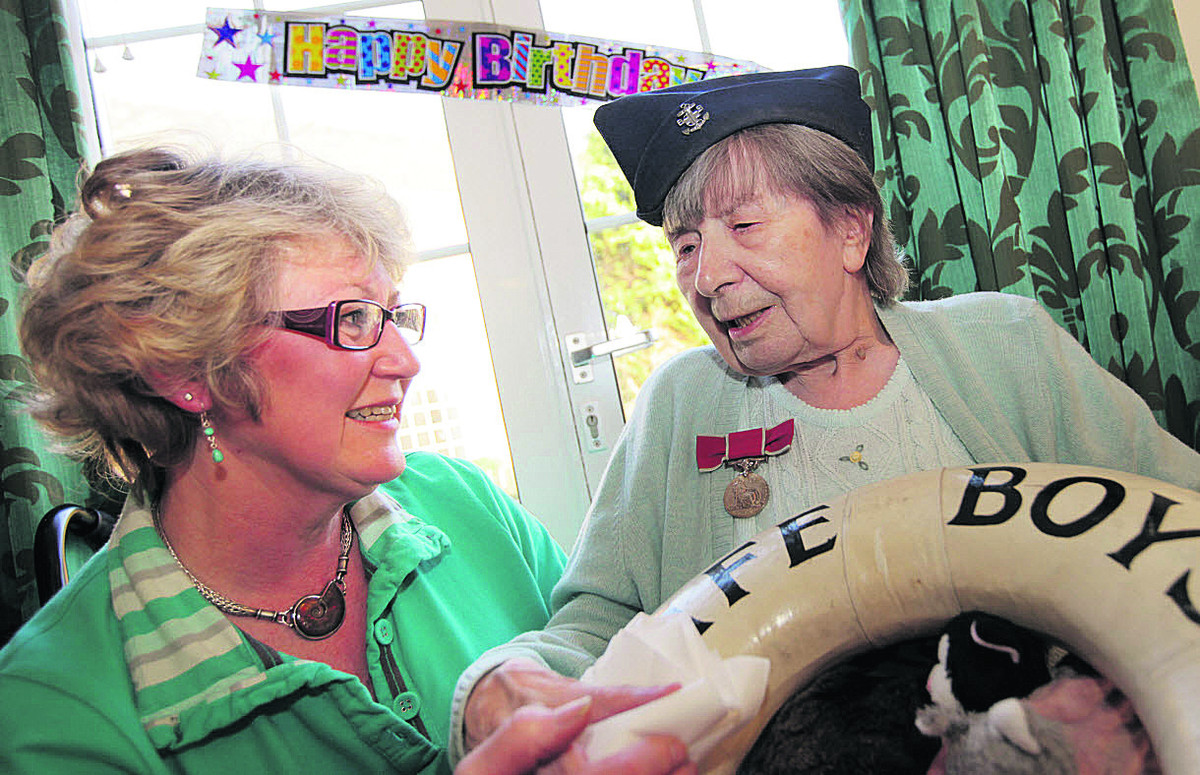 Marjorie Cowley celebrates her 100th birthday at Cherwood Nursing Home, Caversfield, Bicester