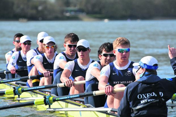 Oxford University, with cox Laurence Harvey on the right, prepare for tomorrow's 160th Boat Race on The Thames