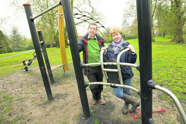 City councillor Roy Darke and Marie Power, of the Friends of Headington Hill Park who were unhappy about the siting of fitness equipment in the park