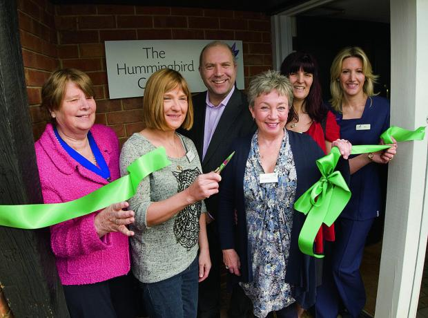 From left, deputy Bicester mayor Lynn Pratt, Leafy Taylor, Paul Harris, AnneMarie Godwin, Mechelle Harris and Rebecca Fletcher at the opening of the Hummingbird Centre in Launton, near Bicester