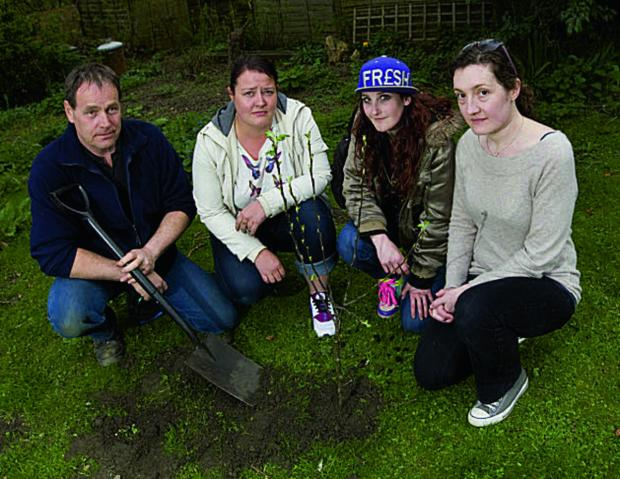 Trax staff Peter Shacklady, Helen Bates, Charlotte Walker and Olivia Davies plant an apple tree in memory of Connor