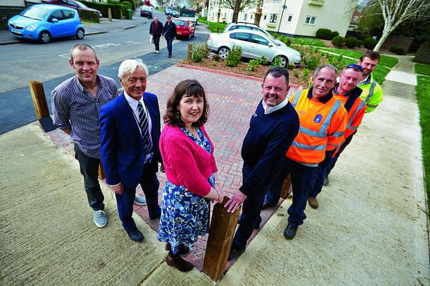 The Oxford Times: From left, Mark Lygo, Geoff Corps, Susan Brown, Richard Hurst, Rodney Knight, Scott Moore and Oliver Hearn at the new parking area