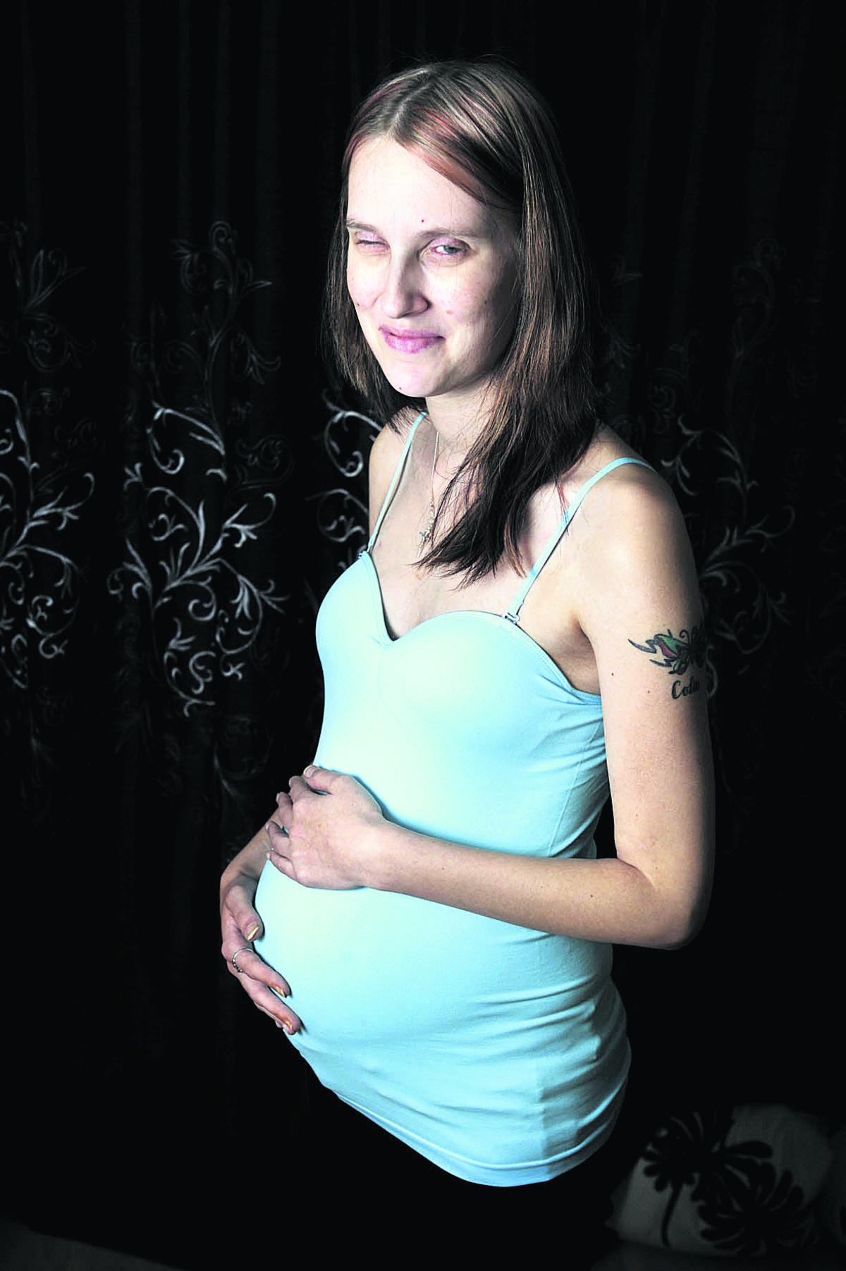 Four- and-a-half years ago Samantha Goddard was fighting for her life after suffering an allergic reaction to Tamiflu. Now she is six months' pregnant   Picture: Mark Hemsworth