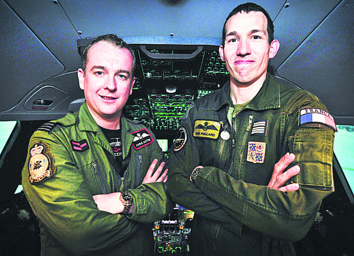 Flt Lt Chris Aston, left, and Lt Col Ben Paillard in the cockpit of the A400M flight simu