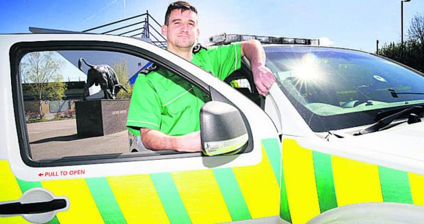 The Oxford Times: St John Ambulance district manager, Craig Heigold at the Kassam Stadium
