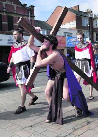 Mischa Richards plays Jesus in the play held on Cowley Road in 2012