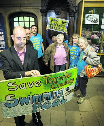 Nigel Gibson, front, with campaigners