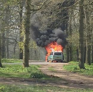 The Oxford Times: A 4x4-type car engulfed in flames at Longleat Safari Park,