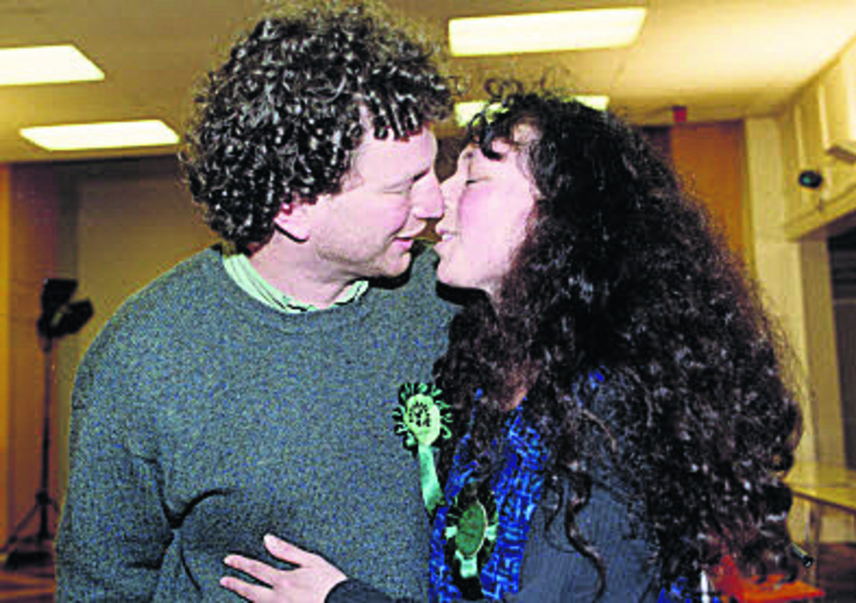 Deborah Glass Woodin with her husband Mike Woodin after an election victory in 2000