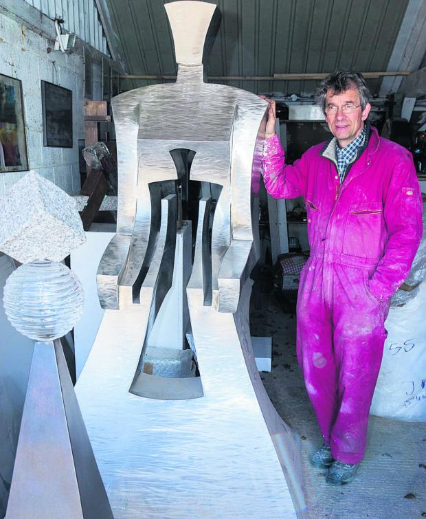 The Oxford Times: Johannes von Stumm, artist and sculptor, with one of his pieces at his studio in South Fawley. Picture: OX66557 Greg Blatchford