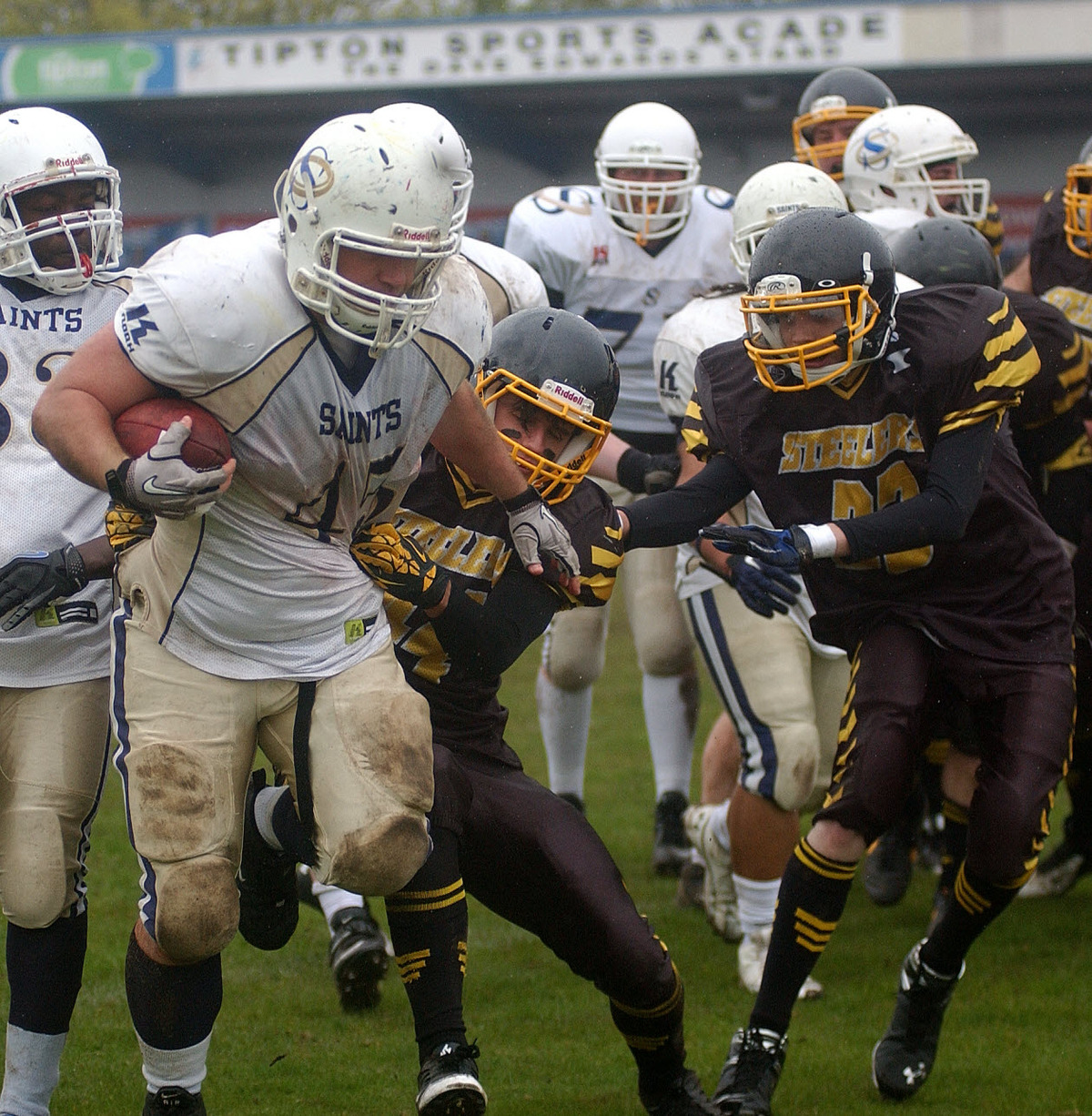 Oxford Saints' Stephen Bentley is set to crash over for one of his two touchdowns