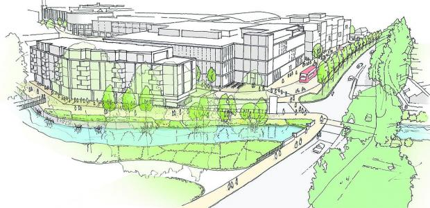 An artist's impression of the new Wesgate Centre, looking along Thames Street from Oxpens with the Castle Mill Stream in the foreground